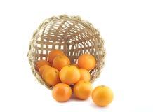 Houten die mand met sinaasappelen wordt gevuld Stock Fotografie