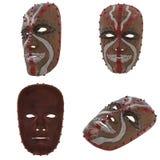 Houten die masker met verven op een geïsoleerde witte achtergrond wordt geschilderd 3D Illustratie vector illustratie
