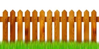 Houten die omheining en gras - op witte achtergrond wordt geïsoleerd Royalty-vrije Stock Afbeeldingen