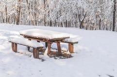 Houten die parkbank en lijst met sneeuw met bevroren bos wordt behandeld Stock Afbeelding