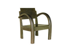 Houten die stoel met het knippen van weg wordt geïsoleerd Royalty-vrije Stock Afbeeldingen