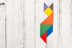 Houten die tangram als een vos wordt gevormd Stock Afbeeldingen