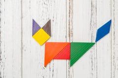 Houten die tangram als vos wordt gevormd Royalty-vrije Stock Afbeeldingen