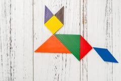 Houten die tangram als vos wordt gevormd Royalty-vrije Stock Afbeelding