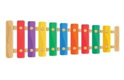 houten die xylofoonstuk speelgoed illustratie op een witte achtergrond wordt geïsoleerd stock illustratie