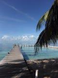 Houten Dok bij Mexicaanse Caraïbische Zee stock foto