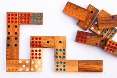 Houten domino. Stock Foto's