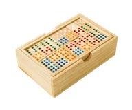 Houten Domino in doos Royalty-vrije Stock Foto
