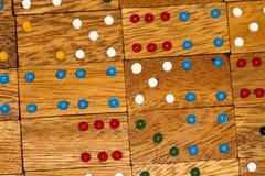 Houten domino's en aantallen stock afbeelding