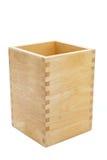 Houten doos die op een witte achtergrond wordt geïsoleerdi Royalty-vrije Stock Foto