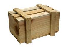 Houten doos die op wit wordt geïsoleerde Stock Afbeelding