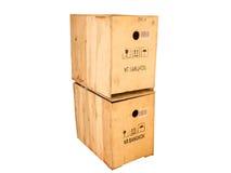 Houten doos die op witte achtergrond wordt geïsoleerdr Royalty-vrije Stock Afbeelding