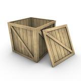 Houten doos (incl. het knippen van weg) Stock Foto