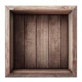 Houten doos of krat hoogste geïsoleerde mening Royalty-vrije Stock Foto