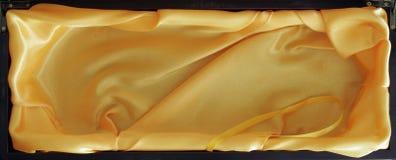 Houten Doos met Gele binnen Zijde Royalty-vrije Stock Foto's
