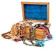 Houten doos met juwelen Stock Foto's