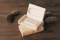 Houten doos met usbstok op donkere houten achtergrond Stock Afbeelding