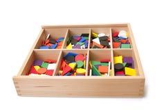 Houten doos met vorm Stock Afbeeldingen
