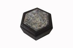 Houten doos met zilveren gravure Stock Afbeeldingen