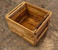 Houten doos op vloer vanaf bovenkant Stock Fotografie