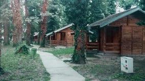 Houten dorp met concreet voetpad en oude bomen stock video