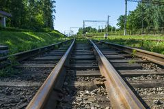 Houten dwarsbalken op de spoorweg in de 20ste eeuw Royalty-vrije Stock Afbeeldingen