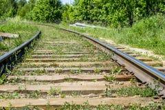 Houten dwarsbalken op de spoorweg in de 20ste eeuw Royalty-vrije Stock Fotografie