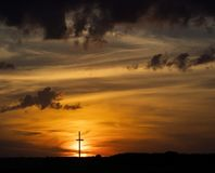 Houten Dwarssilhouet bij Zonsondergang stock afbeelding