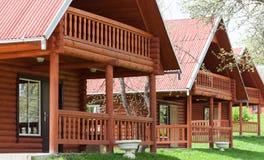 Houten ecologische huizen Stock Afbeelding