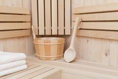 houten emmer met lepel Stock Foto's