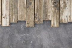 Houten en concrete achtergrond Stock Afbeelding