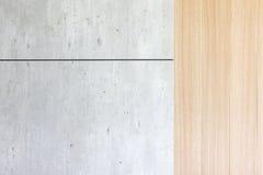 Houten en concrete achtergrondmuur Stock Foto