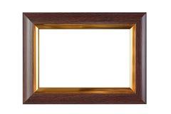 Houten en gouden kader Stock Foto's