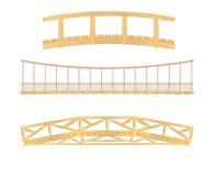 Houten en hangende brugillustraties vector illustratie