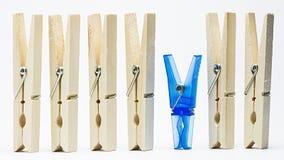 Houten en plastic wasknijper Stock Foto