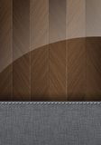 Houten en textielachtergrond met ruimte voor tekst Stock Foto's