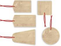 Houten Etiketten met Rode Kabel Stock Afbeelding