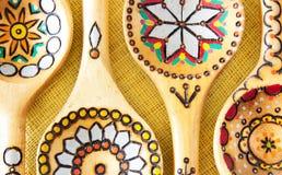 Houten etnische lepels. Stock Foto's