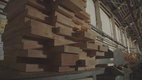 Houten Fabrieks algemeen plan: de productie van gelamineerd vernisjetimmerhout stock video