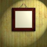 Houten frame bij houten muur Royalty-vrije Stock Afbeeldingen