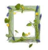 Houten frame dat door de lentebloemen wordt verfraaid Royalty-vrije Stock Afbeeldingen