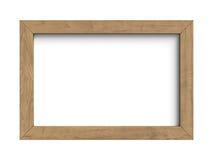 Houten frame dat op een witte achtergrond wordt geïsoleerdp Stock Fotografie