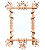 Houten frame dat op wit wordt geïsoleerd Stock Afbeelding