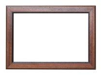 Houten frame dat op witte achtergrond wordt geïsoleerdn Stock Foto