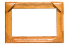 Houten frame dat op witte achtergrond wordt geïsoleerdn Stock Afbeeldingen