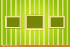 Houten frame drie op de groene muur.   Royalty-vrije Stock Fotografie