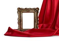 Houten frame en zijdedekking Stock Afbeeldingen