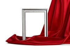 Houten frame en zijdedekking Stock Foto