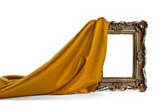 Houten frame en zijdedekking Stock Afbeelding