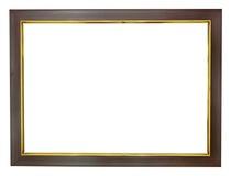 Houten frame met gouden randen Stock Afbeeldingen